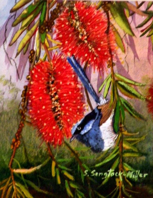 Wren Painting Art Print featuring the painting Bottle Brush And Wren by Sandra Sengstock-Miller