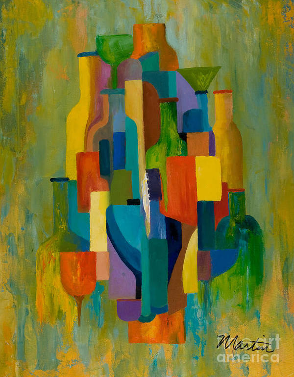 Abstract Art Print featuring the painting Bottles And Glasses by Larry Martin