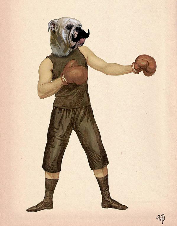 Boxing Framed Prints Art Print featuring the digital art Boxing Bulldog by Kelly McLaughlan