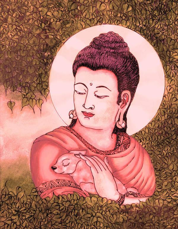 Buddha Art Print featuring the glass art Buddha Red by Loganathan E