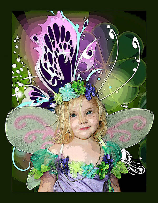 Butterfly Fairy Art Print featuring the mixed media Butterfly Fairy by Ellen Henneke