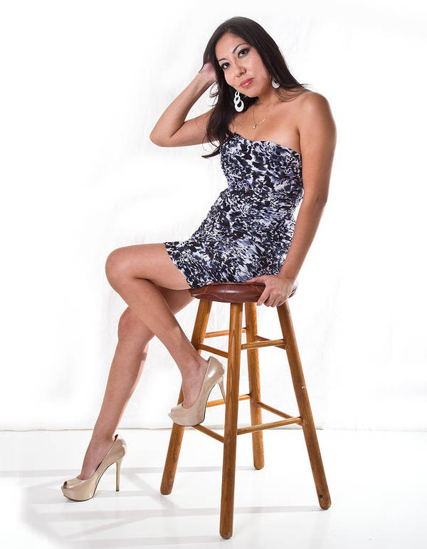 Model Art Print featuring the photograph Candace On Stool by Joel Gilgoff