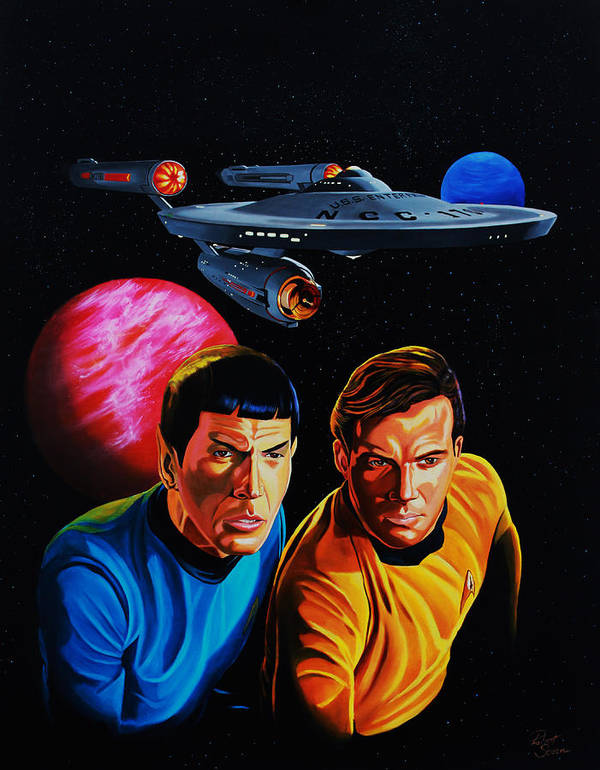 Captain Kirk Art Print featuring the painting Captain Kirk And Mr. Spock by Robert Steen
