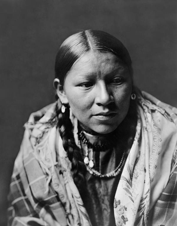 1910 Art Print featuring the photograph Cheyenne Young Woman Circa 1910 by Aged Pixel