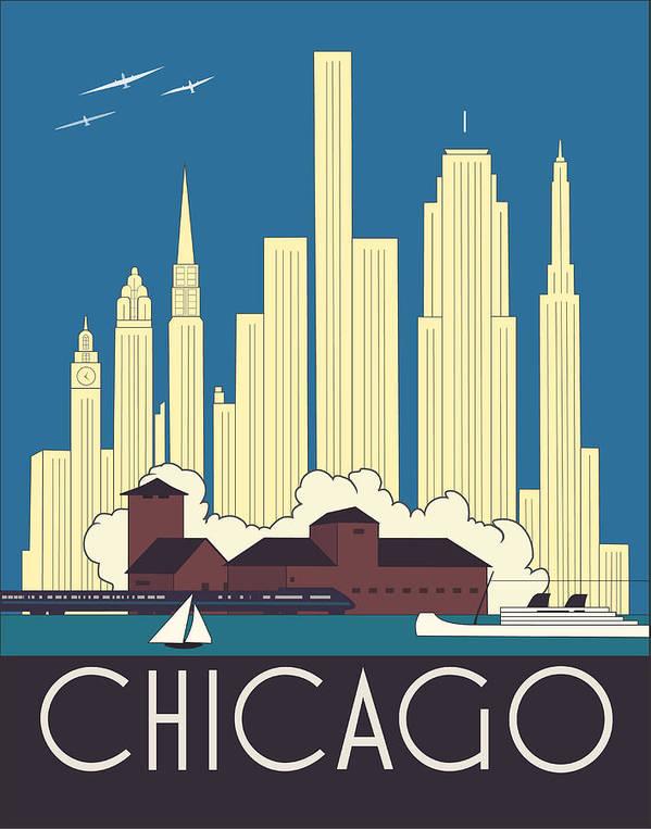 e631fc0e7d5 Chicago Art Print featuring the digital art Chicago Art Deco Skyline by  Josef Spalenka