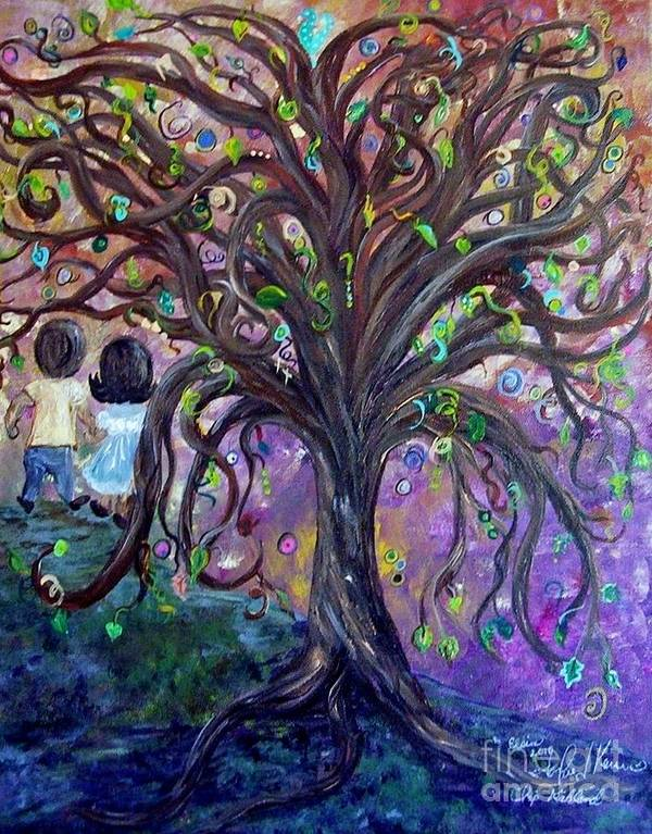 Child Art Print featuring the painting Children Under The Fantasy Tree With Jackie Joyner-kersee by Eloise Schneider Mote