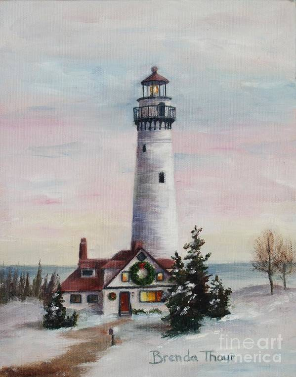 Lighthouse Art Print featuring the painting Christmas Light by Brenda Thour