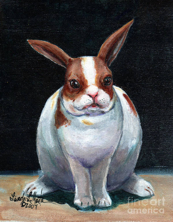 Rabbit Art Print featuring the painting Chubby Bunnie by Linda L Martin