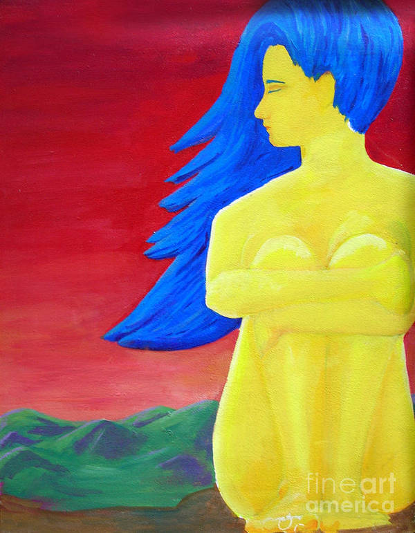 Woman Art Print featuring the painting Color Study Yellow by Angela Bingham