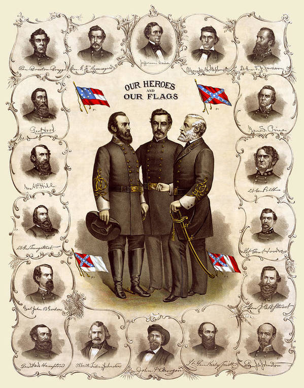 civil War Art Print featuring the photograph Confederate Generals And Flags by Daniel Hagerman