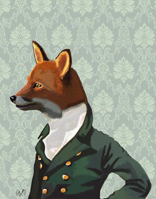 Dandy Framed Prints Art Print featuring the digital art Dandy Fox Portrait by Kelly McLaughlan