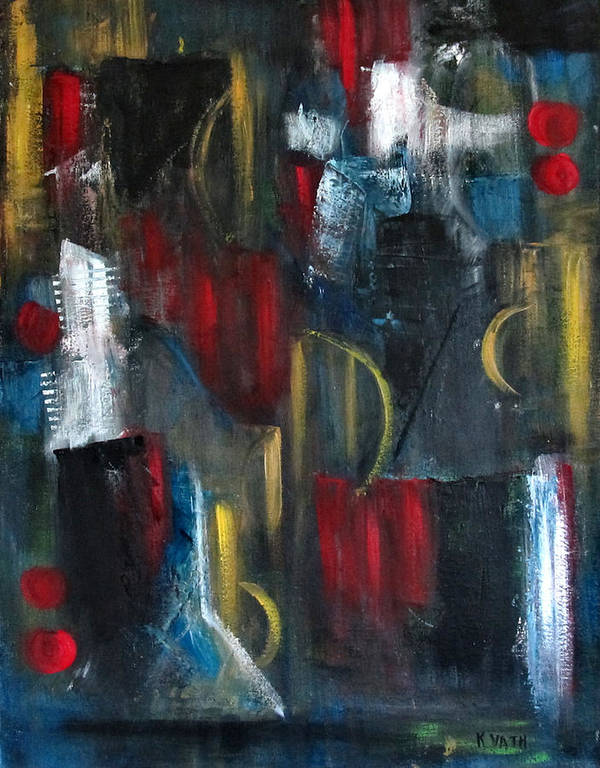 Abstract Art Print featuring the painting Dark Nights by Karen Day-Vath