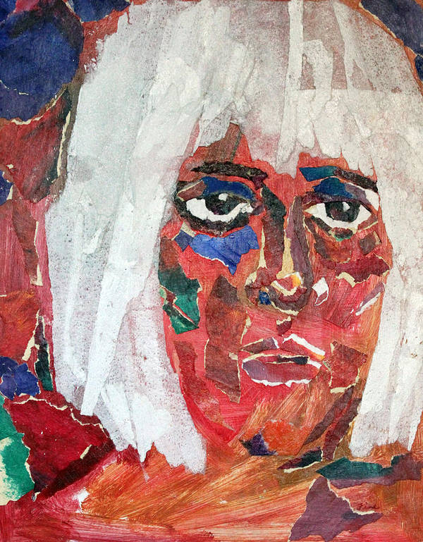 Mixed Media Portrait Art Print featuring the mixed media Diane by Diane Fine