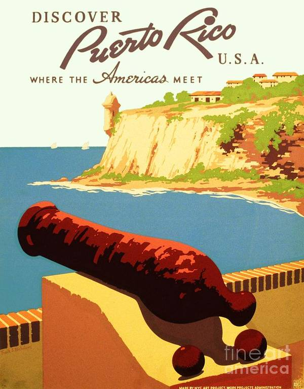 Art Deco Art Print featuring the painting Discover Puerto Rico by Pg Reproductions