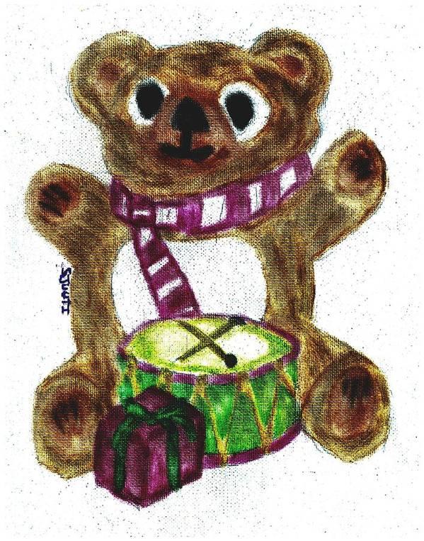 Teddybear Art Print featuring the pastel Drummer Teddy by Shaunna Juuti