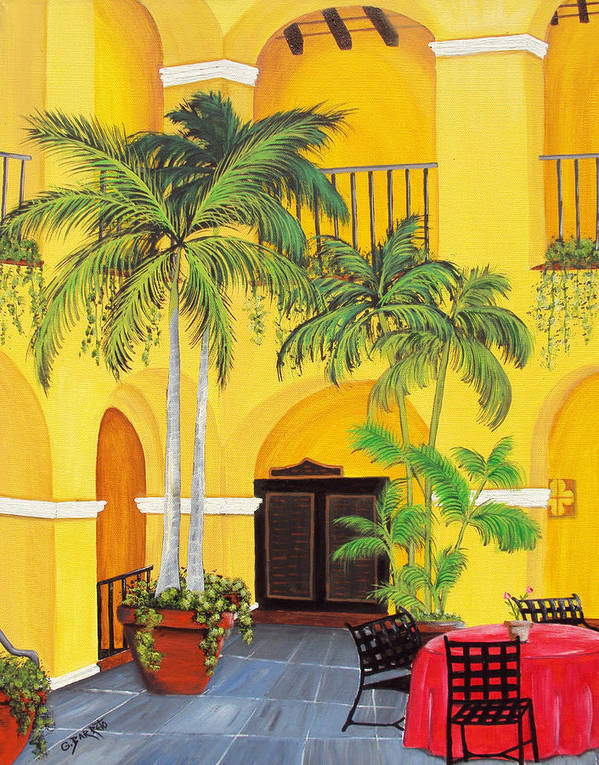 Puerto Rico Convent Art Print featuring the painting El Convento In Old San Juan by Gloria E Barreto-Rodriguez