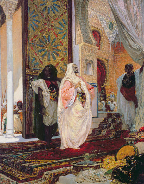 Entering The Harem Art Print featuring the painting Entering The Harem by Georges Clairin