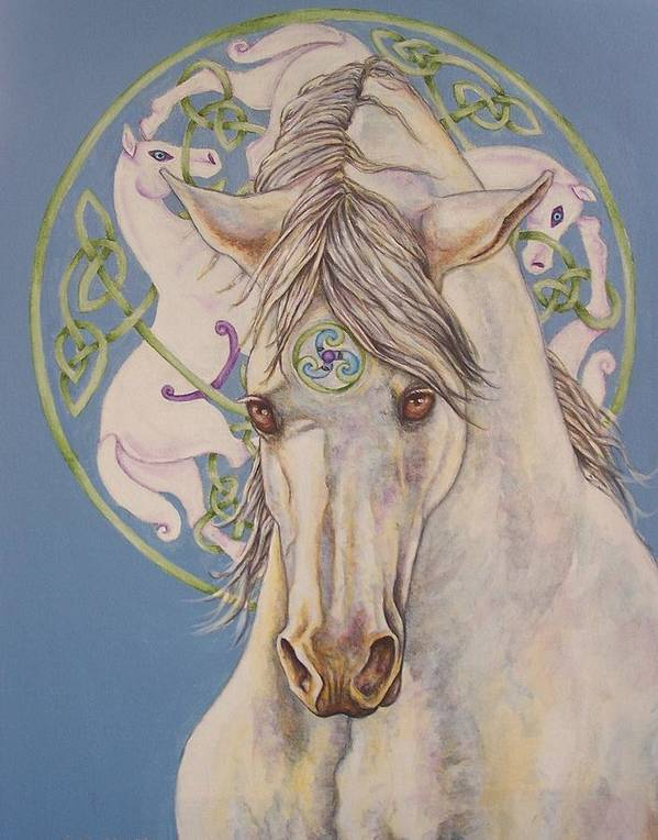 Celtic Art Print featuring the painting Epona The Great Mare by Beth Clark-McDonal