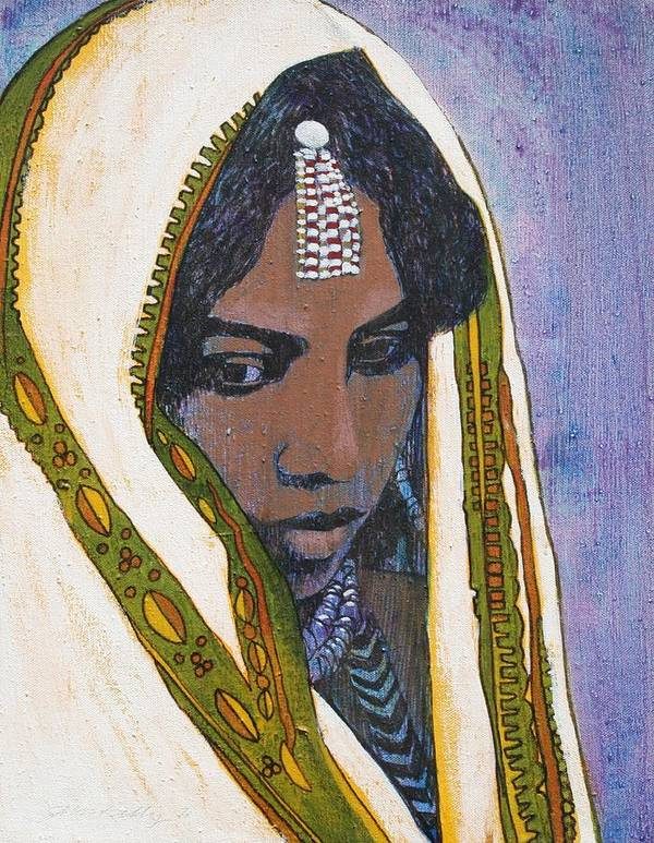 Ethiopian Woman Art Print featuring the painting Ethiopian Woman by J W Kelly