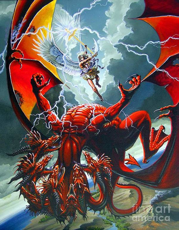 Dragon Art Print featuring the painting Fall Of The Hydra by Stanley Morrison