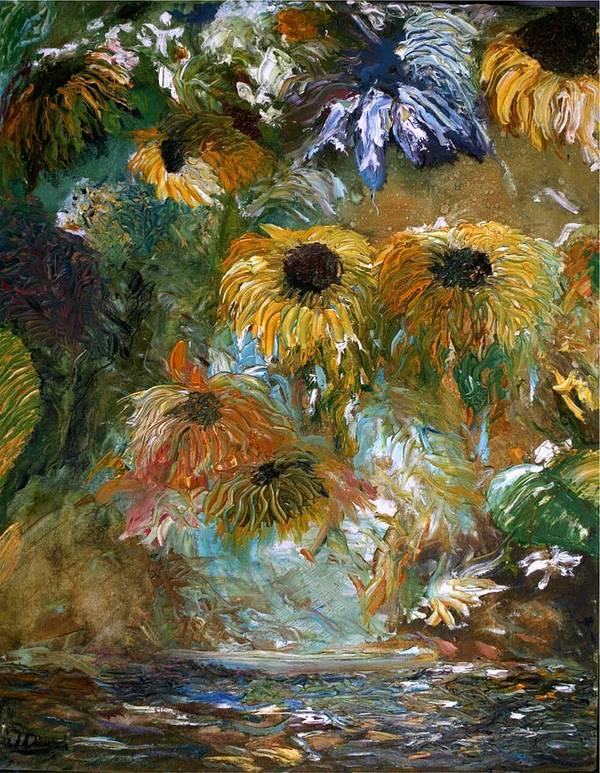 Flowers Art Print featuring the painting Flower Rain by Jack Diamond