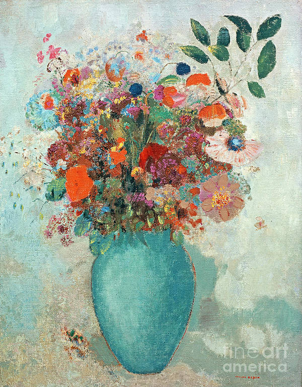 Flower; Floral Arrangement; Still Life; Symbolist Art Print featuring the painting Flowers In A Turquoise Vase by Odilon Redon