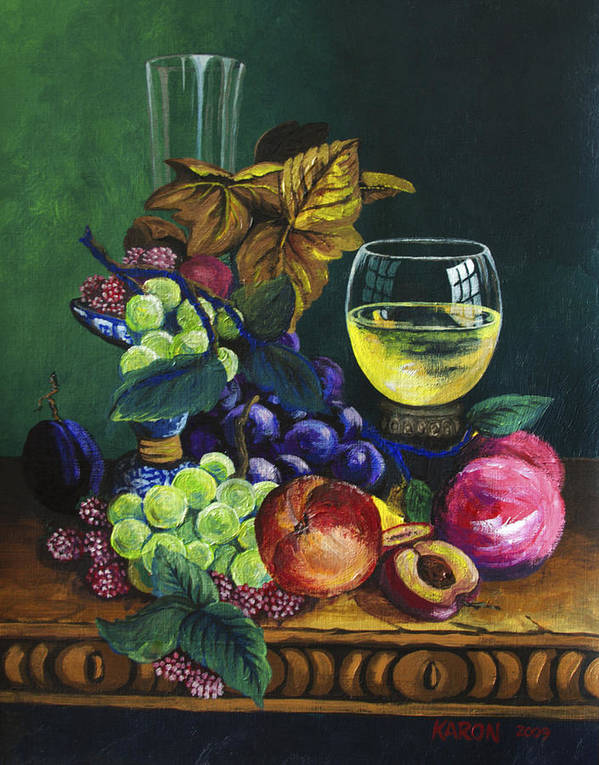 Fruit And Wine Art Print featuring the painting Fruit And Wine by Karon Melillo DeVega
