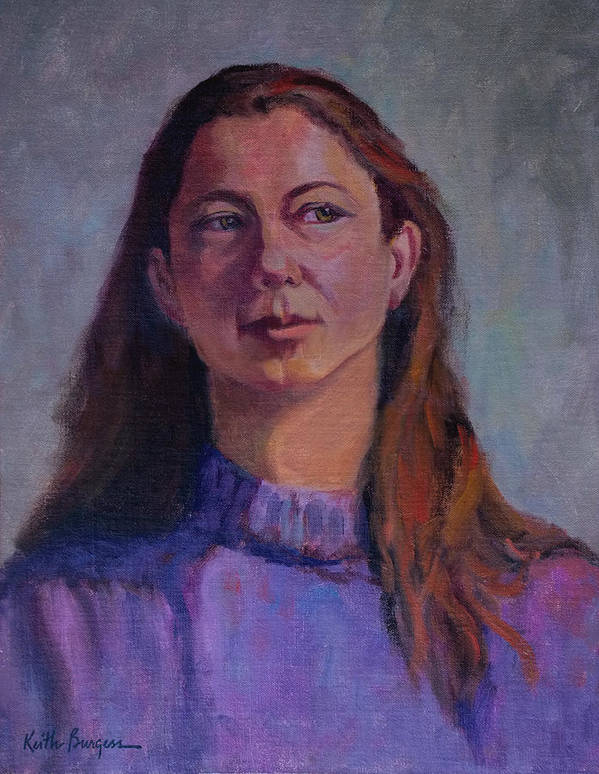 Portrait Art Print featuring the painting Girl In Purple by Keith Burgess
