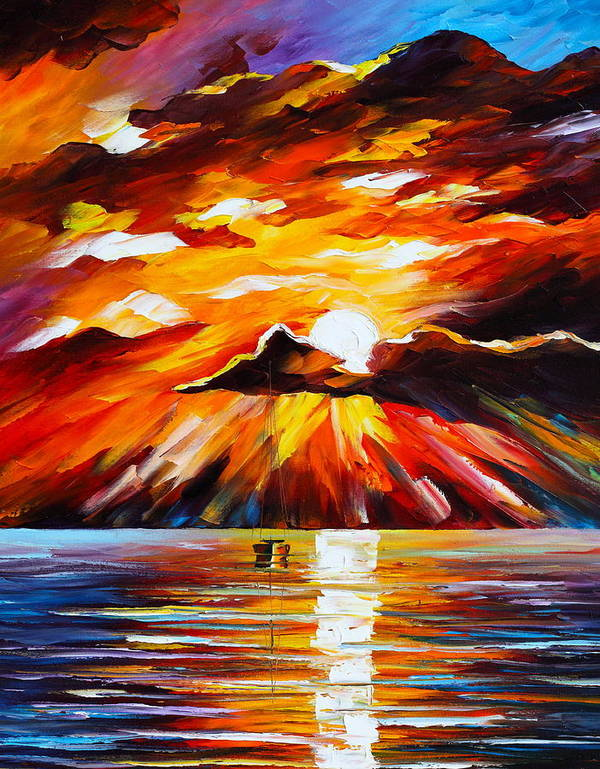 Sea Art Print featuring the painting Glowing Sun by Leonid Afremov