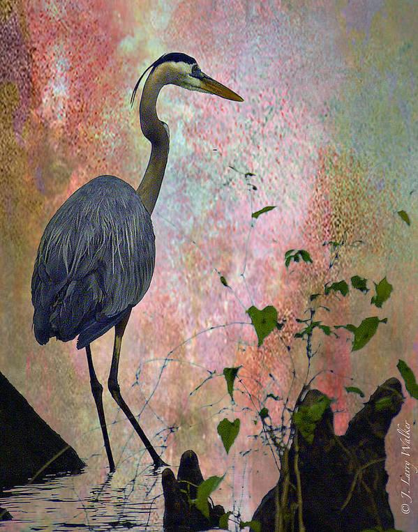 J Larry Walker Art Print featuring the digital art Great Blue Heron Among Cypress Knees by J Larry Walker