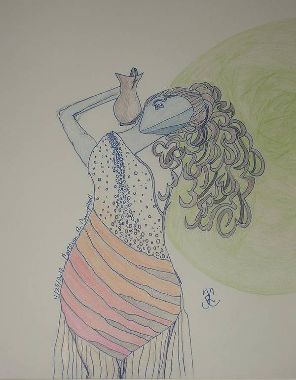 Greek Art Print featuring the drawing Greek Goddess by Carolina Campbell