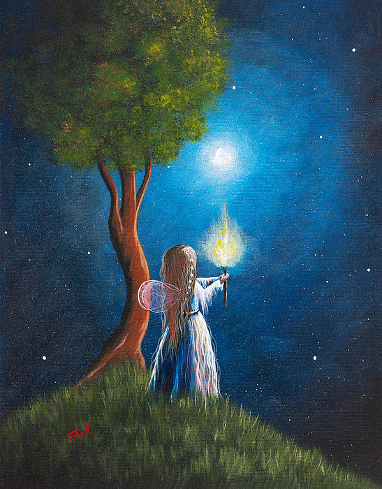 Fairy Art Print featuring the painting Guardian Of Light By Shawna Erback by Shawna Erback