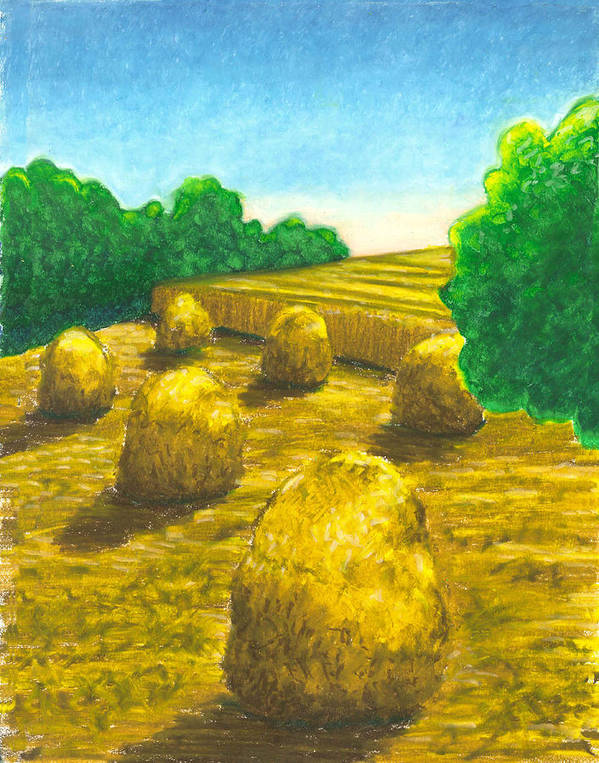 Hay Art Print featuring the painting Harvest Gold by Carrie MaKenna