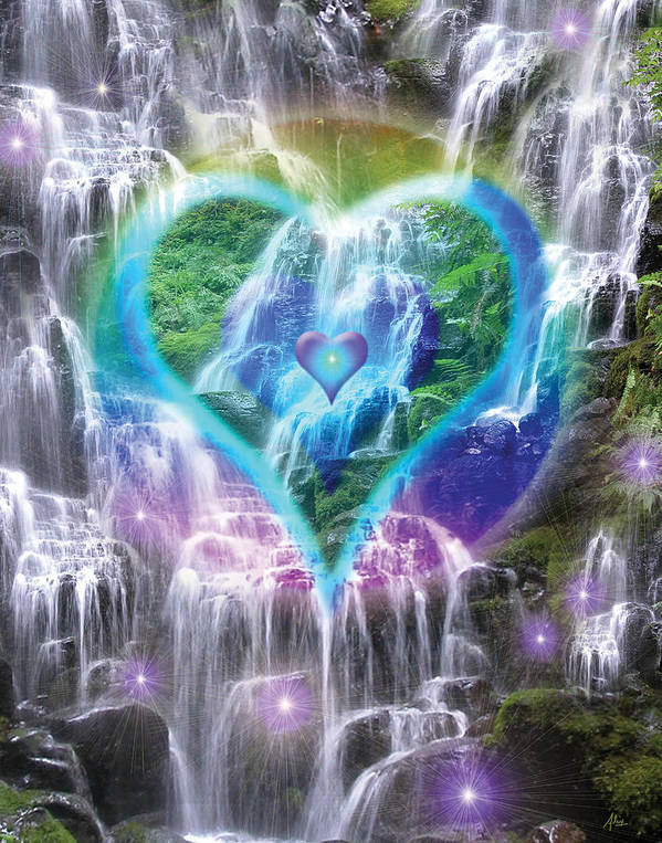 Heart Of Waterfalls Print featuring the photograph Heart Of Waterfalls by Alixandra Mullins
