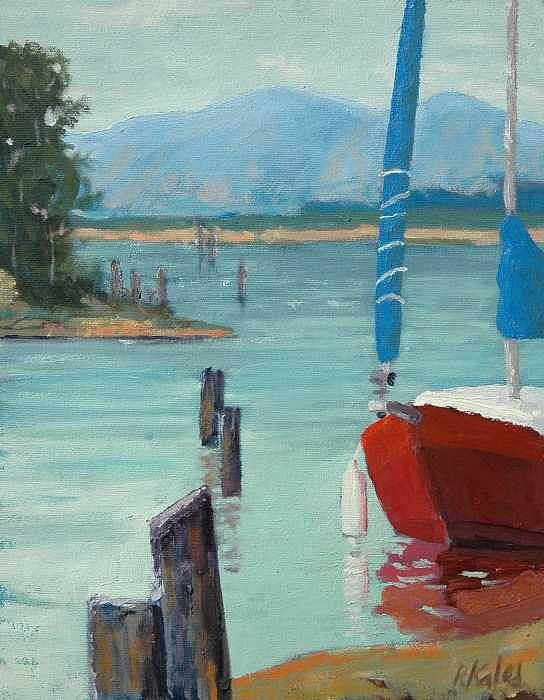 Art Print featuring the painting Inlet With Sailboat  Laconner Wa by Raymond Kaler