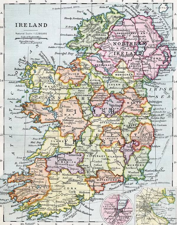 Map; Mapping; Cartography; Grid; Scale; Territory; Island Art Print featuring the painting Irish Free State And Northern Ireland From Bacon S Excelsior Atlas Of The World by English School