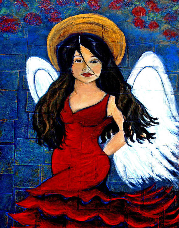 Spanish Art Print featuring the painting Isabella A Spanish Earth Angel From Cultures Around The World by The Art With A Heart By Charlotte Phillips