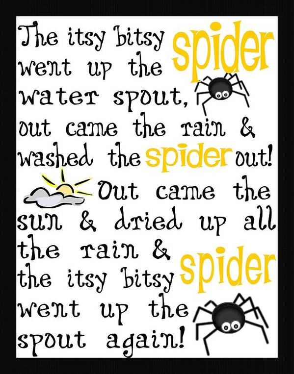 Itsy Bitsy Spider Print featuring the digital art Itsy Bitsy Spider by Jaime Friedman