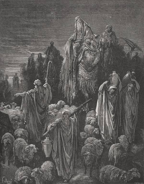 Famine Art Print featuring the painting Jacob Goeth Into Egypt by Gustave Dore