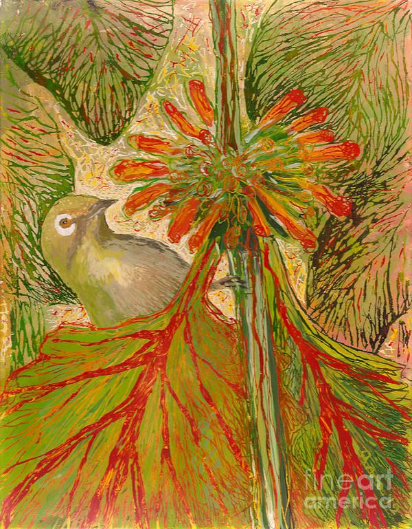 Hawaii Birds Print featuring the painting Japanese White Eye by Anna Skaradzinska