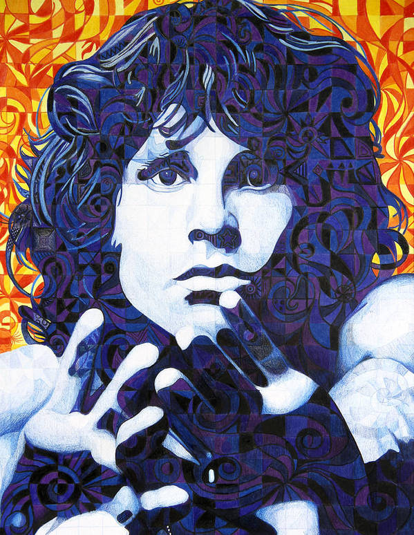 Jim Morrison Art Print featuring the drawing Jim Morrison Chuck Close Style by Joshua Morton