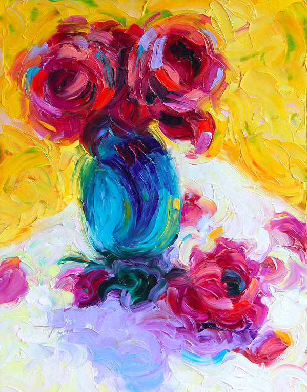Rose Print featuring the painting Just Past Bloom - Roses Still Life by Talya Johnson