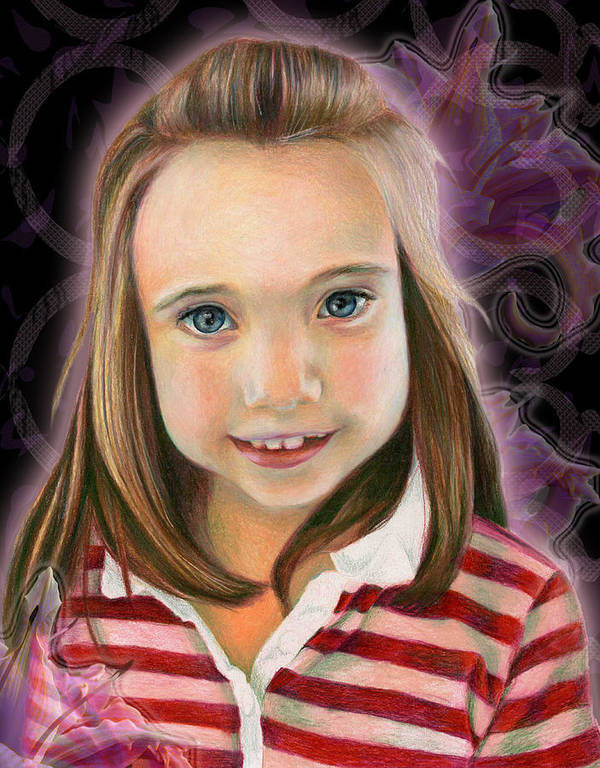 Young Art Print featuring the drawing Kaylee by Heather Raven Illingworth