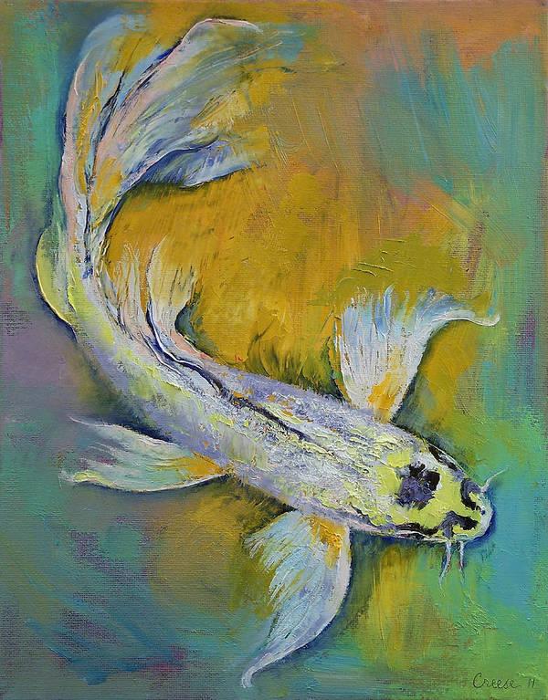 Kujaku Art Print featuring the painting Kujaku Butterfly Koi by Michael Creese