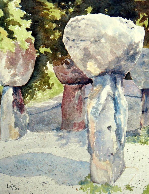 Landscape Art Print featuring the painting Latte Stone by Lisa Pope