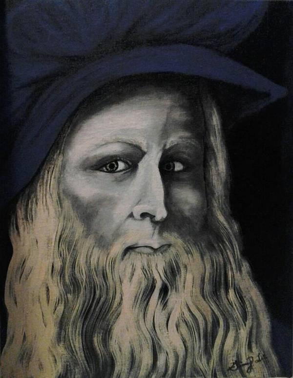 Da Vince Art Print featuring the painting Leonardo Da Vince by Ginny Lei