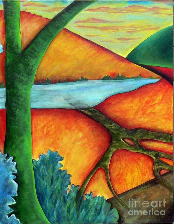 Landscape Art Print featuring the painting Lost Land 1 by Elizabeth Fontaine-Barr