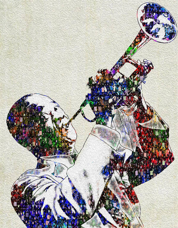 Louis Armstrong Art Print featuring the painting Louie Armstrong 2 by Jack Zulli