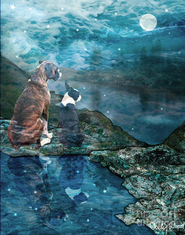 Dogs Print featuring the digital art Memory Bay by Judy Wood