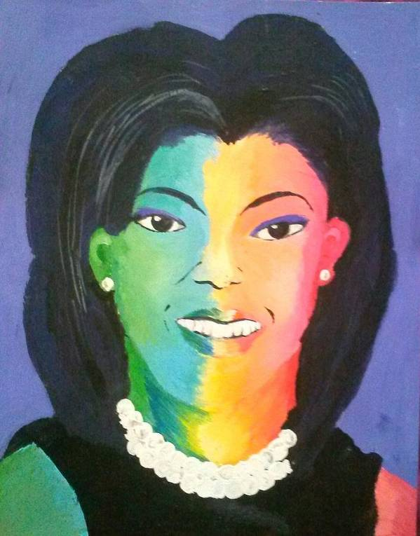 Michelle Obama Print featuring the painting Michelle Obama Color Effect by Kendya Battle